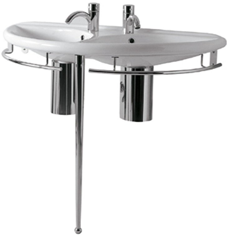 Whitehaus ECO64-ESU04 Semi-Circular Double Basin Console with Chrome Overflows and Towel Rails - China Series