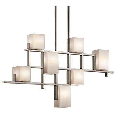 Kichler 42941CLP City Lights Collection Chandelier Linear 7 Light Halogen in Classic Pewter