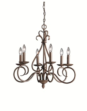 Kichler 1713TZ Norwich Collection Chandelier 6 Light in Tannery Bronze