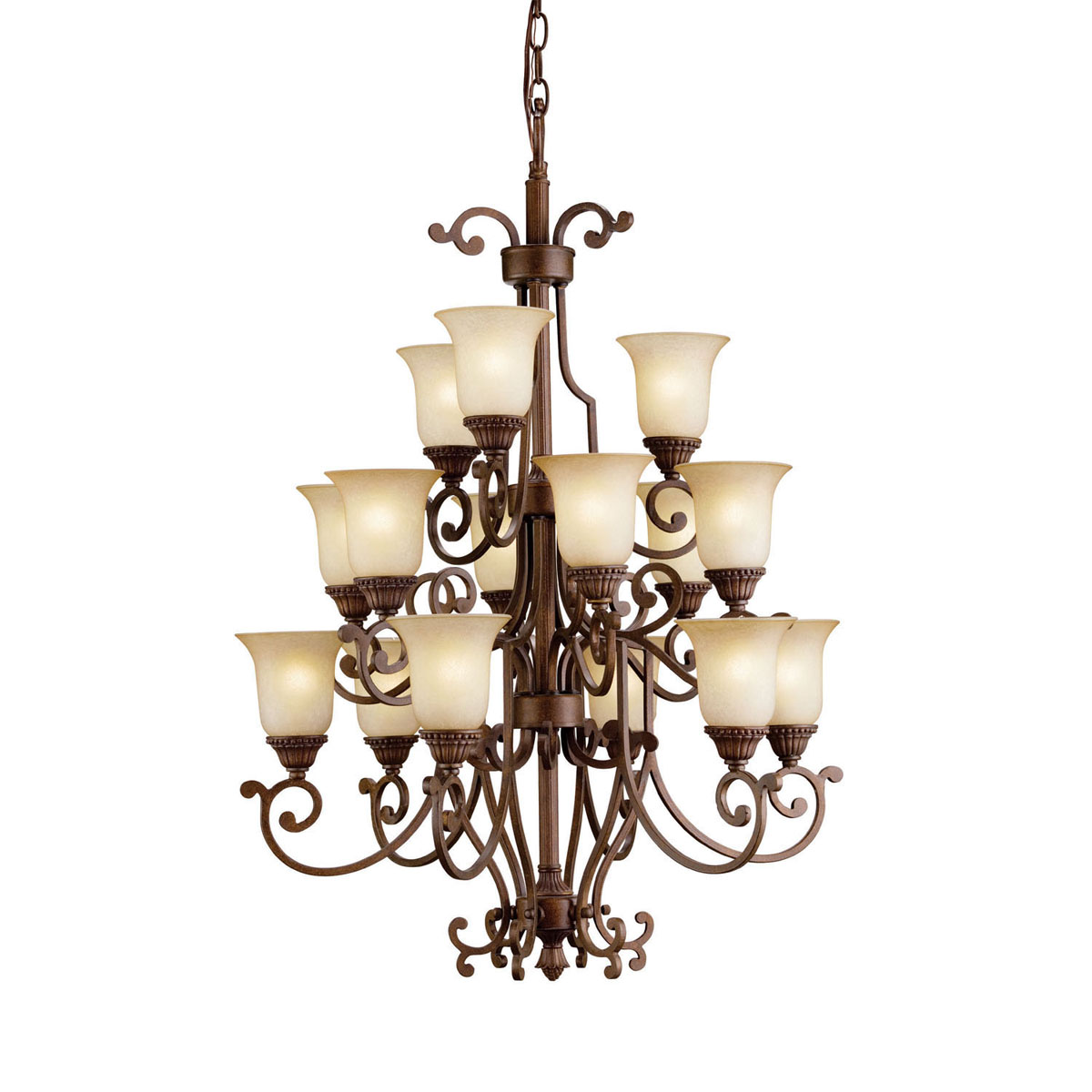 Kichler 2307TZG Larissa Collection Chandelier 15 Light in Tannery Bronze with Gold Accent