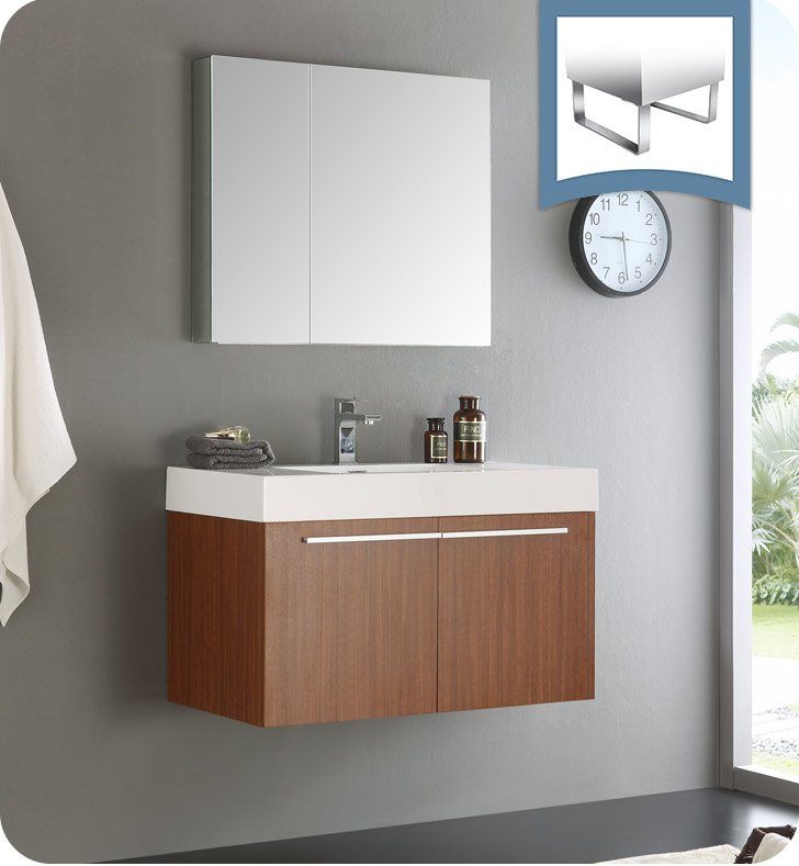 Fresca FVNTK Vista Teak Modern Bathroom Vanity With Medicine - Bathroom vanity and medicine cabinet