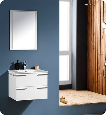 "Fresca FVN8114WH Cielo 28"" White Modern Bathroom Vanity with Mirror"