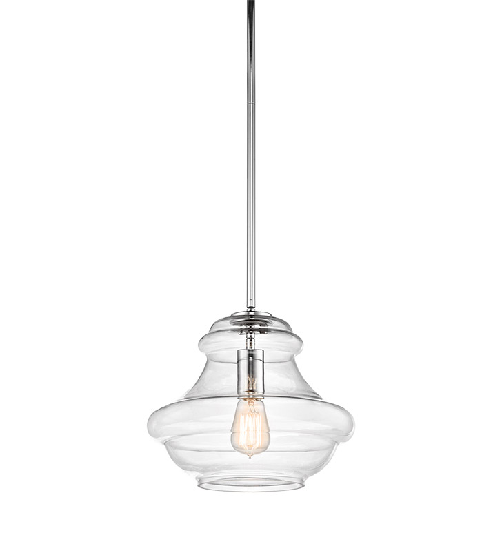Kichler 42044CH Everly Collection Pendant 1 Light in Chrome