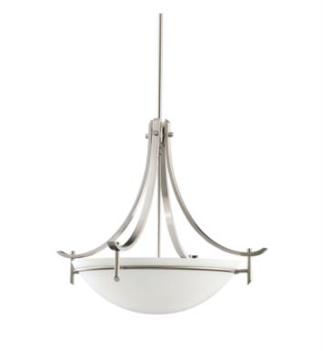 Kichler 3278AP Olympia 3 Light Incandescent Inverted Pendant with Bowl Shaped Glass Shade With Finish: Antique Pewter