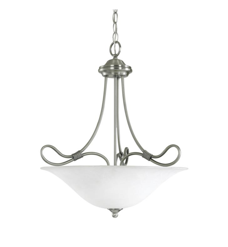 Kichler 3356AP Stafford 3 Light Incandescent Inverted Pendant with Bowl Shaped Glass Shade With Finish: Antique Pewter
