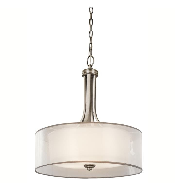 Kichler 42385MIZ Lacey 4 Light Incandescent Inverted Pendant with Organza Shade With Finish: Mission Bronze