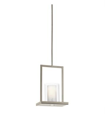 Kichler 42549CLP Triad 1 Light Incandescent Pendant with Cylinder Shaped Glass Shade With Finish: Classic Pewter