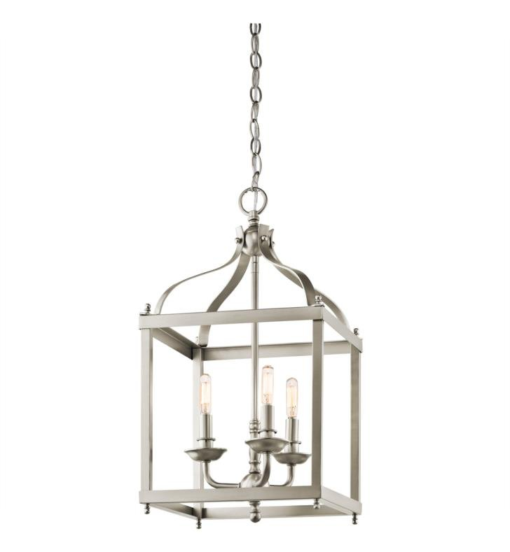 Kichler 42566NI Larkin 3 Light Incandescent Indoor Pendant with Metal Cage Frame With Finish: Brushed Nickel