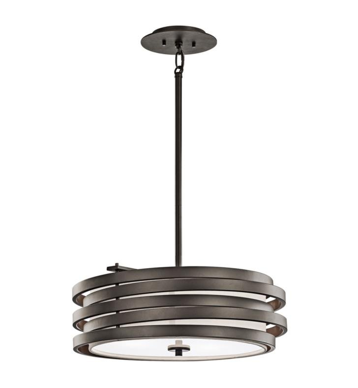 Kichler 43301NI Roswell 3 Light Incandescent Pendant with Drum Shaped Metal Shade With Finish: Brushed Nickel
