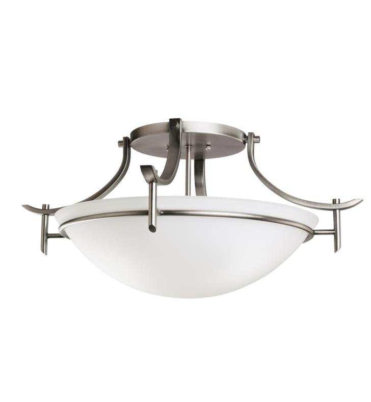 Kichler 3606AP Olympia 3 Bulb Incandescent Semi-Flush Mount Ceiling Light with Bowl Shaped Glass Shade With Finish: Antique Pewter