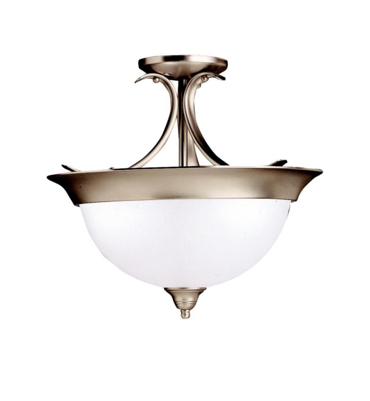 Kichler 3623OZ Dover 3 Bulb Incandescent Semi-Flush Mount Ceiling Light with Bowl Shaped Glass Shade With Finish: Olde Bronze