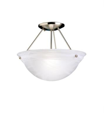 Kichler 3718NI Cove Molding Top Glass 2 Bulb Incandescent Semi-Flush Mount Ceiling Light with Bowl Shaped Glass Shade With Finish: Brushed Nickel