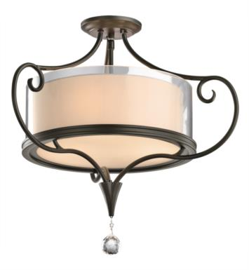 Kichler 42866SWZ Lara 2 Bulb Incandescent Semi-Flush Mount Ceiling Light with Drum Shaped Glass Shade With Finish: Shadow Bronze
