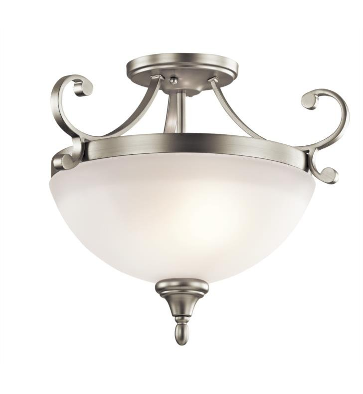 Kichler 43169NI Monroe 2 Bulb Incandescent Semi-Flush Mount Ceiling Light with Bowl Shaped Glass Shade With Finish: Brushed Nickel