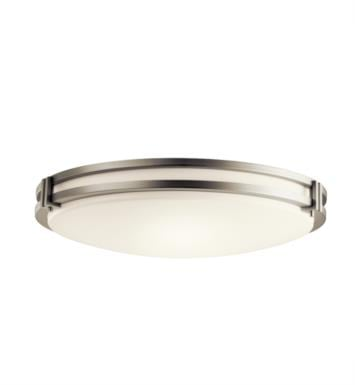 Kichler 10828NI 3 Light Compact Fluorescent Flush Mount Ceiling Light with Round Shaped Glass Shade With Finish: Brushed Nickel