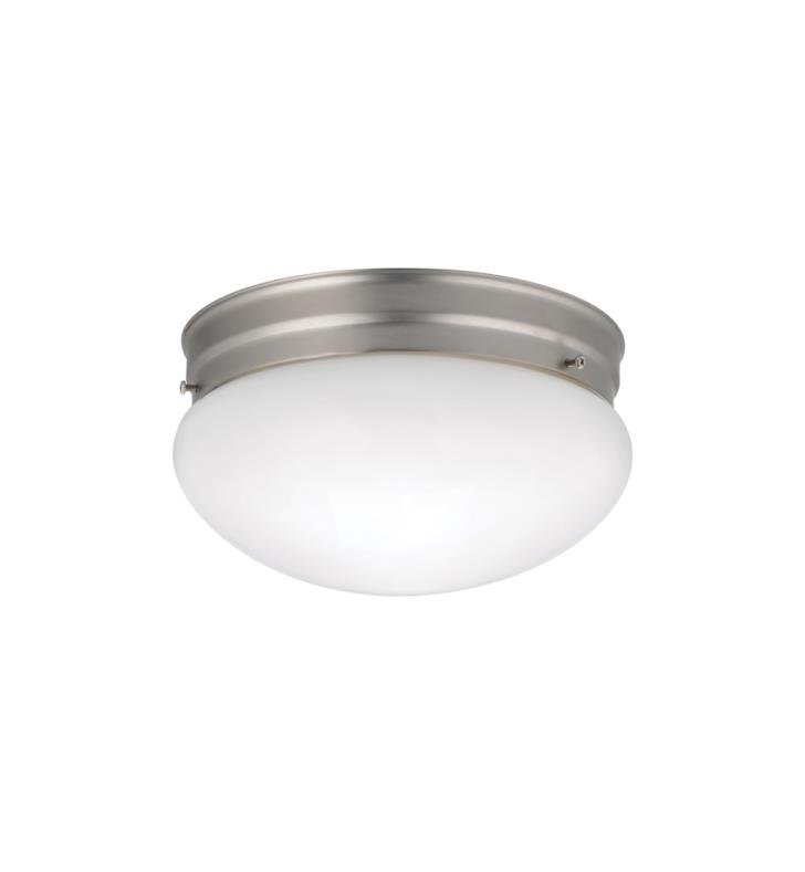 Kichler 209NI Ceiling Space 2 Light Incandescent Flush Mount Ceiling Light with Bowl Shape Glass Shade With Finish: Brushed Nickel