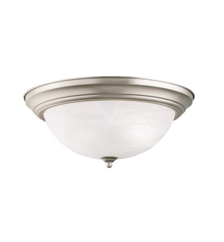 "Kichler 8110TZ 3 Light 15 1/4"" Incandescent Flush Mount Ceiling Light with Dome Shaped Glass Shade With Finish: Tannery Bronze"