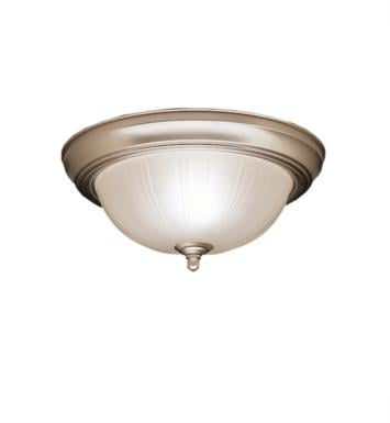 "Kichler 8653SC 2 Light 15 1/4"" Incandescent Flush Mount Ceiling Light with Bowl Shaped Glass Shade With Finish: Stucco White"