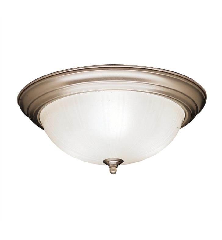 Kichler 8655NI 3 Light Incandescent Flush Mount Ceiling Light with Bowl Shaped Glass Shade With Finish: Brushed Nickel