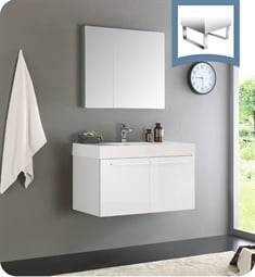 "Fresca FVN8090WH Vista 36"" White Modern Bathroom Vanity with Medicine Cabinet"