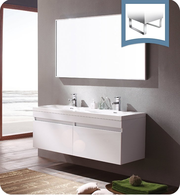 fresca fvn8040wh largo 57 white modern bathroom vanity with wavy double sinks - Modern White Bathroom Cabinets