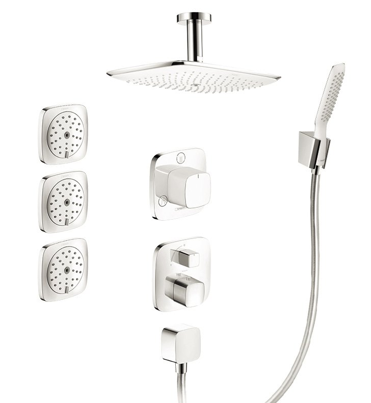hansgrohe hg prshowersys3 puravida shower system with handshower and bodysprays in white chrome. Black Bedroom Furniture Sets. Home Design Ideas