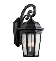 "Kichler 9034 Courtyard 3 Light 10 1/4"" Incandescent Outdoor Wall Sconce with Lantern Shaped Glass Shade"
