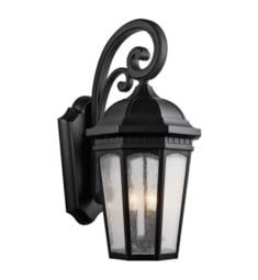 "Kichler 9035 Courtyard 3 Light 12 1/4"" Incandescent Outdoor Wall Sconce with Lantern Shaped Glass Shade"