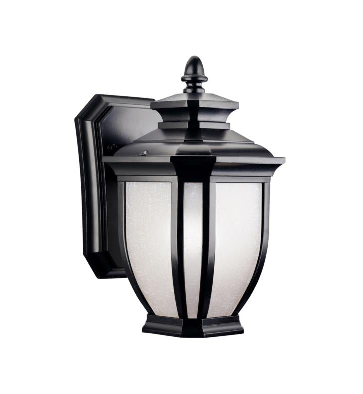 "Kichler 9039BK Salisbury 1 Light 6"" Incandescent Outdoor Wall Sconce with Lantern Shaped Glass Shade With Finish: Black"
