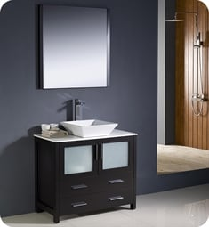 "Fresca FVN6236ES-VSL Torino 36"" Modern Bathroom Vanity with Vessel Sink in Espresso"