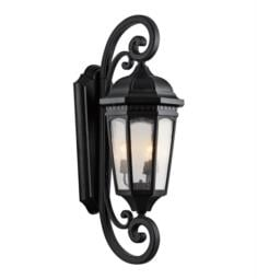 "Kichler 9060 Courtyard 3 Light 13 1/2"" Incandescent Outdoor Wall Sconce with Lantern Shaped Glass Shade"