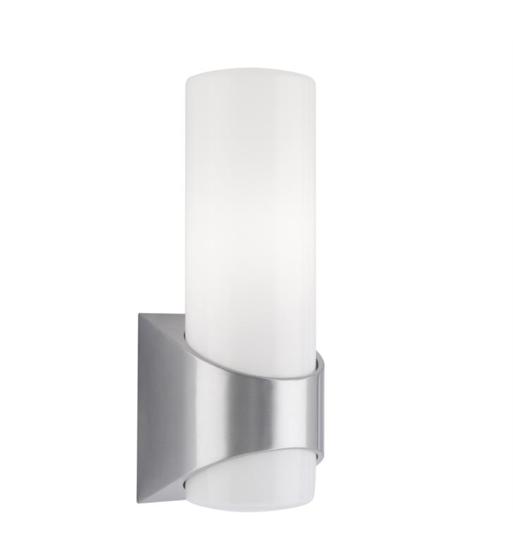 Kichler 9109BA Celino 1 Light Incandescent Outdoor Wall Sconce with Cylindrical Shaped Glass Shade With Finish: Brushed Aluminum