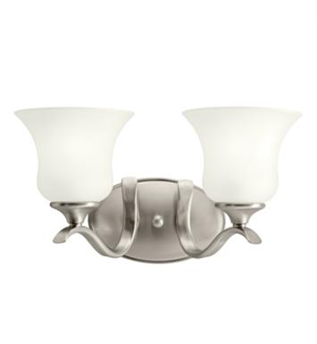"Kichler 10637NI Wedgeport 2 Light 15"" Compact Fluorescent Wall Mount Bath Light with Bell Shaped Glass Shade With Finish: Brushed Nickel"