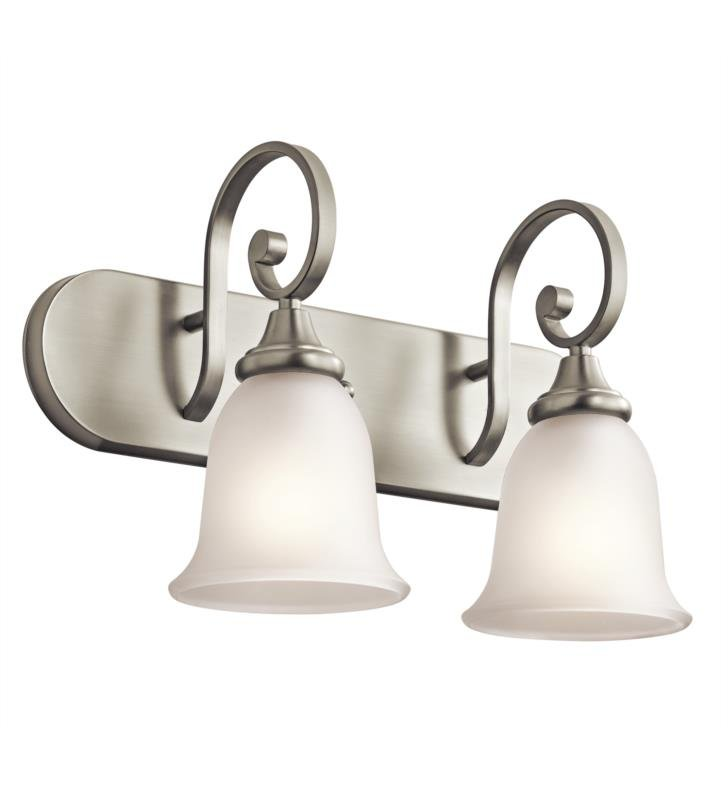 "Kichler 45054OZ Monroe 2 Light 18"" Incandescent Wall Mount Bath Light with Bell Shaped Glass Shade With Finish: Olde Bronze"