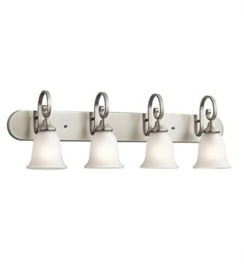 "Kichler 45056NI Monroe 4 Light 36"" Incandescent Wall Mount Bath Light with Bell Shaped Glass Shade With Finish: Brushed Nickel"