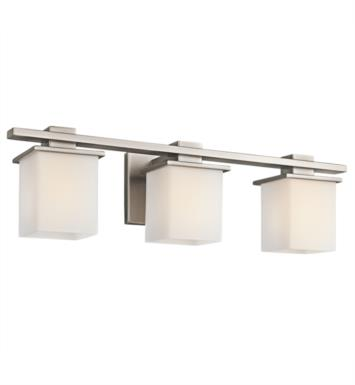"Kichler 45151AP Tully 3 Light 24"" Incandescent Wall Mount Bath Light with Square Shaped Glass Shade With Finish: Antique Pewter"