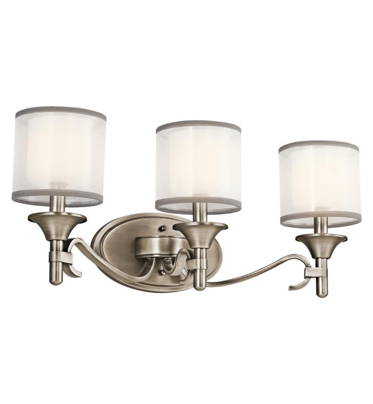 "Kichler 45283AP Lacey 3 Light 22"" Incandescent Wall Mount Bath Light with Drum Shaped Glass Shade With Finish: Antique Pewter"