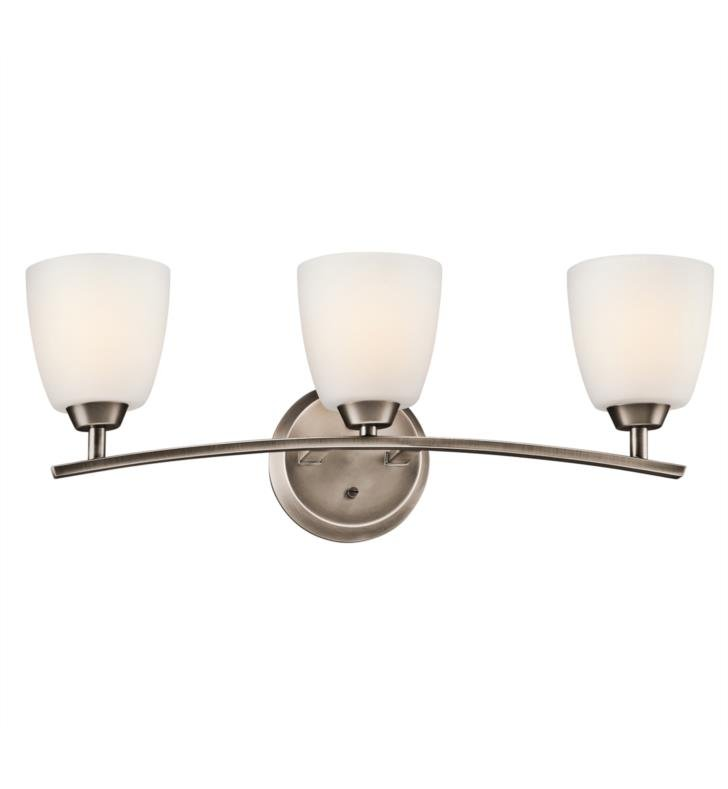 "Kichler 45360BPT Granby 3 Light 25"" Incandescent Wall Mount Bath Light with Dome Shaped Glass Shade With Finish: Brushed Pewter"