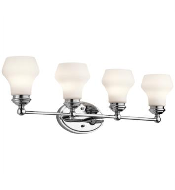 "Kichler 45489CH Currituck 4 Light 32 1/4"" Incandescent Wall Mount Bath Light with Dome Shaped Glass Shade With Finish: Chrome"