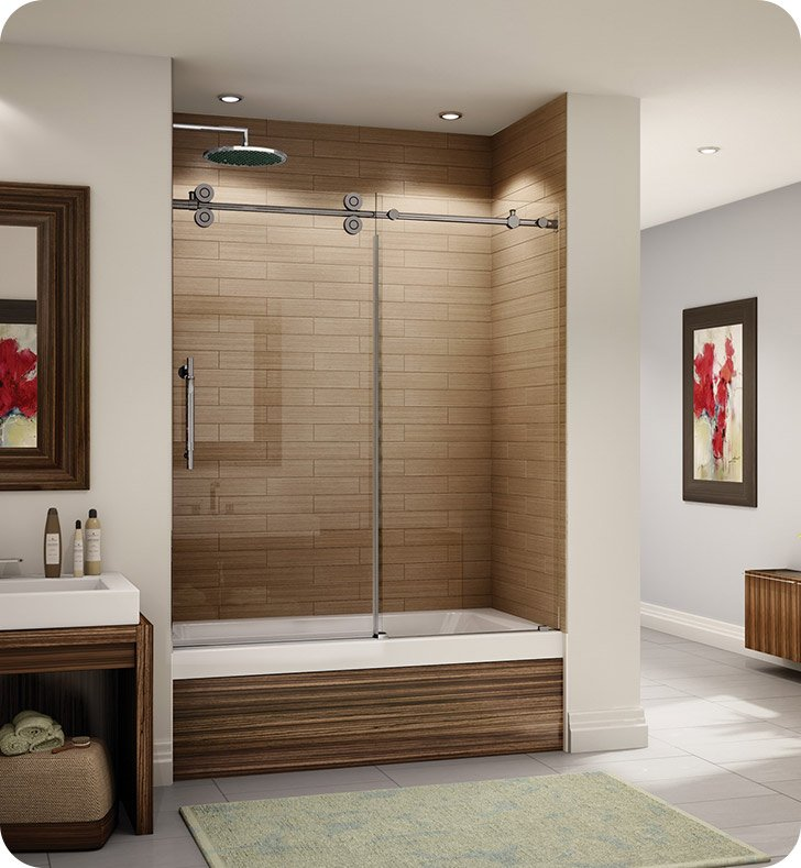 "Fleurco KT057-35-40L-AY Kinetik In Line Tub Door and Panel With Dimensions: Width: 57"" to 58 1/2"" 