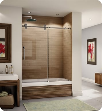 "Fleurco KT057-35-40L-BH Kinetik In Line Tub Door and Panel With Dimensions: Width: 57"" to 58 1/2"" 