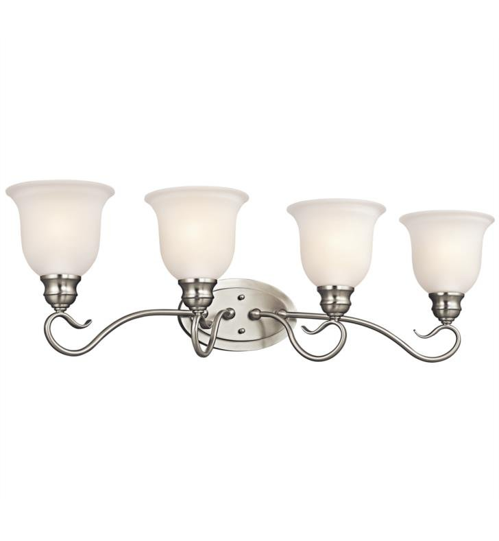 "Kichler 45904NI Tanglewood 4 Light 30 1/2"" Incandescent Wall Mount Bath Light with Bell Shaped Glass Shade With Finish: Brushed Nickel"