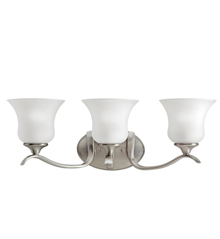"Kichler 5286NI Wedgeport 3 Light 23 1/4"" Incandescent Wall Mount Bath Light with Bell Shaped Glass Shade With Finish: Brushed Nickel"