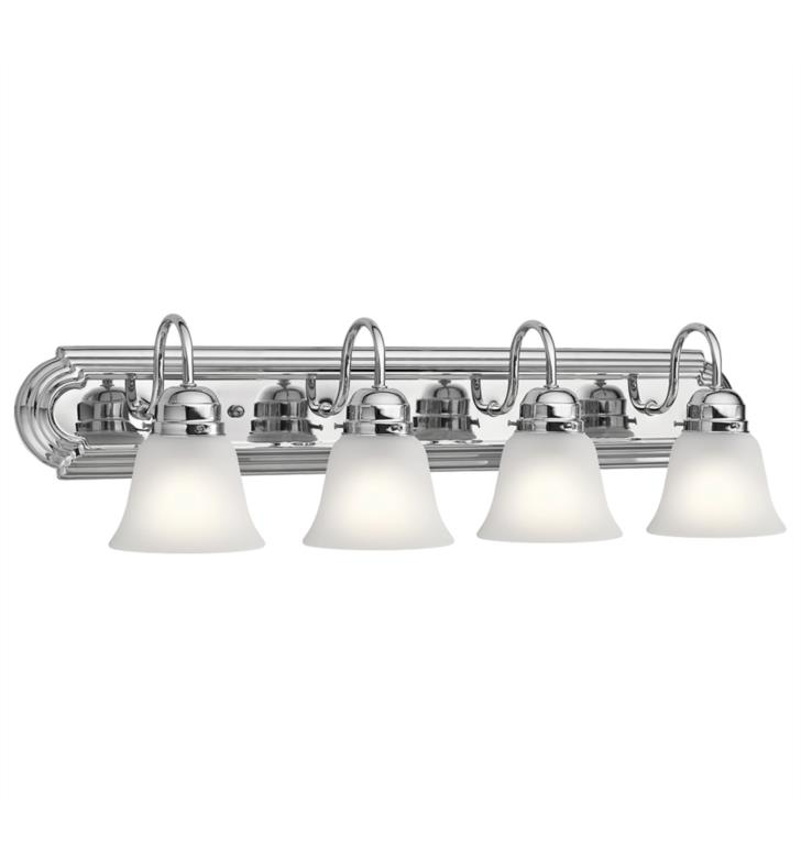 "Kichler 5338NI 4 Light 30"" Incandescent Wall Mount Bath Light with Bell Shaped Glass Shade With Finish: Brushed Nickel"