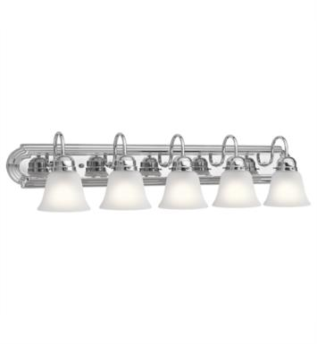 "Kichler 5339NI 5 Light 36"" Incandescent Wall Mount Bath Light with Bell Shaped Glass Shade With Finish: Brushed Nickel"