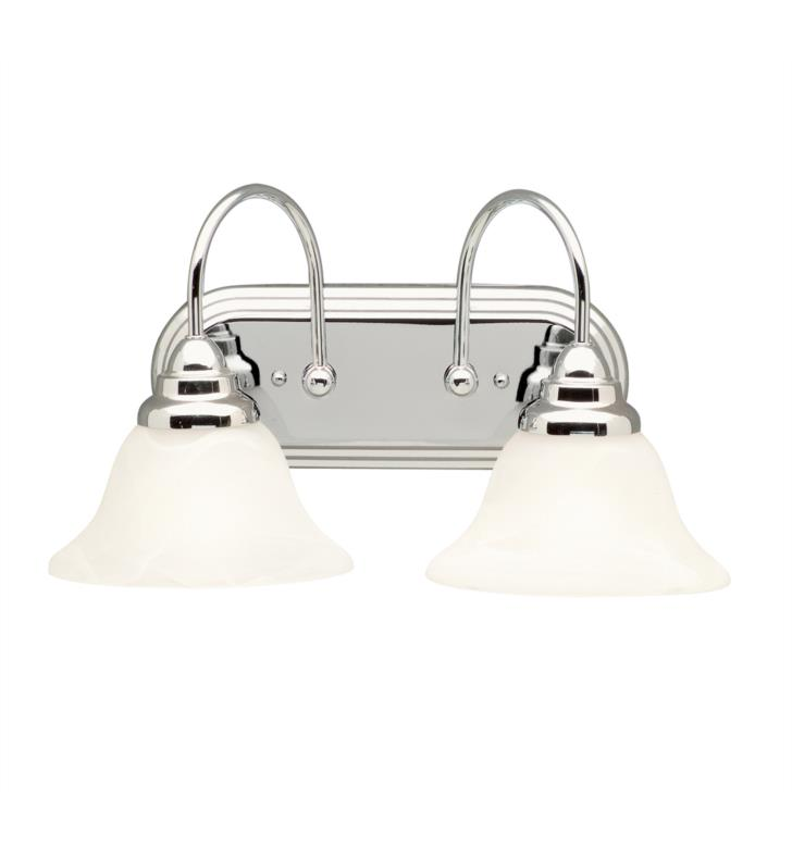 "Kichler 5992CH Telford 2 Light 18"" Incandescent Wall Mount Bath Light with Bell Shaped Glass Shade With Finish: Chrome"