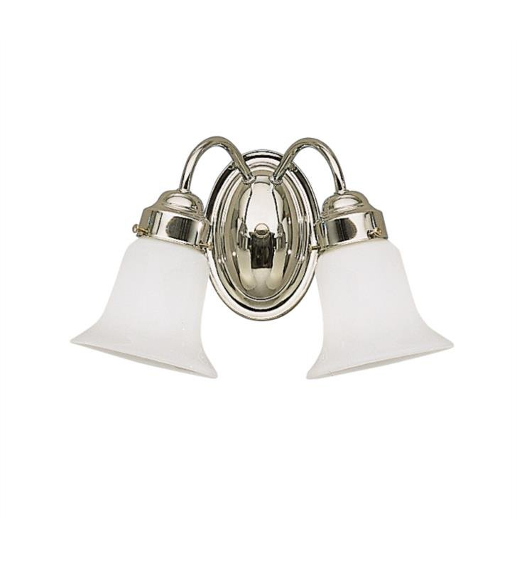 "Kichler 6122NI 2 Light 13 1/2"" Incandescent Wall Mount Bath Light with Bell Shaped Glass Shade With Finish: Brushed Nickel"
