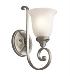 "Kichler 43170 Monroe 1 Light 6"" Incandescent Wall Sconce with Bell Shaped Glass Shade"