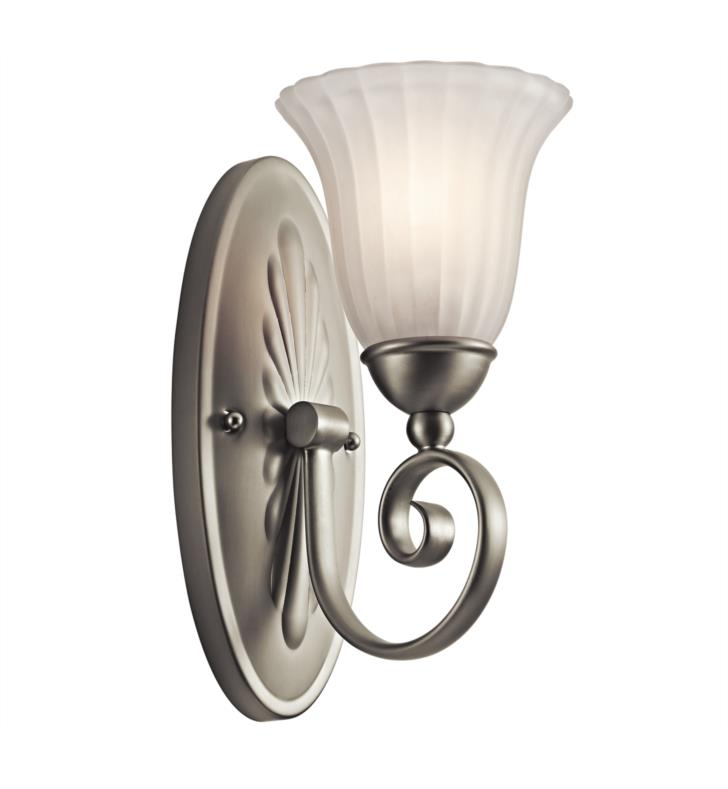 "Kichler 5926NI Willowmore 1 Light 6 1/4"" Incandescent Wall Sconce with Bell Shaped Glass Shade With Finish: Brushed Nickel"