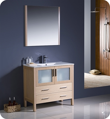 "Fresca FVN6236LO-UNS Torino 36"" Modern Bathroom Vanity with Integrated Sink in Light Oak"